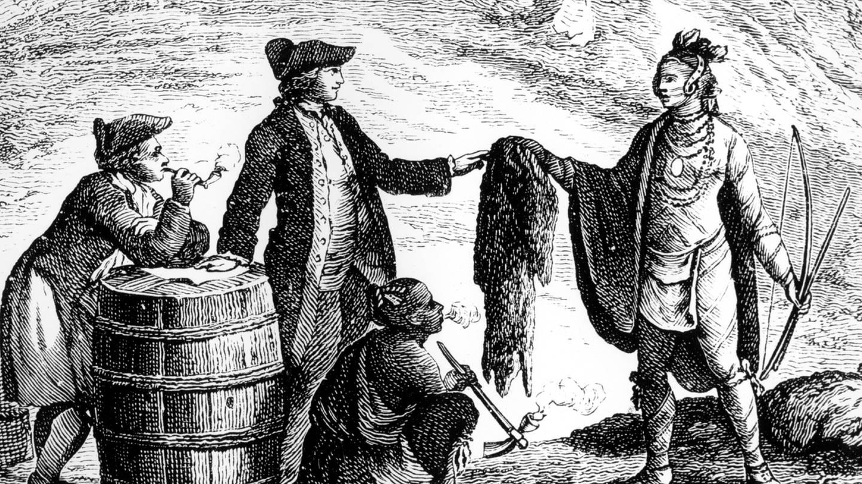 historische Darstellung des Handels zwischen weißen Siedlern und den Indianern (Foto: dpa Bildfunk, Picture Alliance)