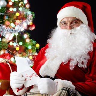 Der Weihnachtsmann vor einem Weihnachtsbaum mit einem Sack Geschenke und einer Weihnachtskarte (Foto: Colourbox)